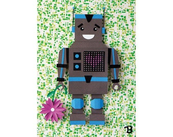 Oliver - charming retro robot boy - postcard art print of an original paper sculpture by Tiffany Budzisz