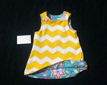 Girls Spring Dress - Girls Shift Dress-  Yellow Dress - Girls Chevron Dress - Toddler Girl Dress -  Groovy Gurlz