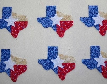 Set of 6 State of Texas Iron-on Cotton Fabric Appliques for Quilts Apparel Etc