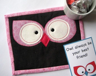 Owl Eyes Mini Quilt Mug Rug Pattern- Instant Download