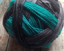 Black sand beaches self striping sock yarn  dyed to order just for you