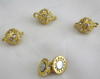 4 Gold Color Rhinestones 12mm Ball Shaped Magnetic Clasps
