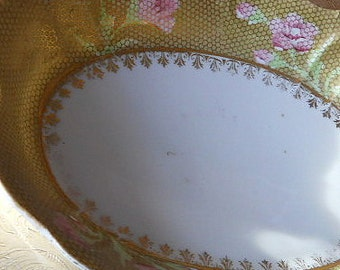 Vintage Voile Veil Oval Dish with Handle Cutouts - Beautiful Floral Veil Copper Color Tray