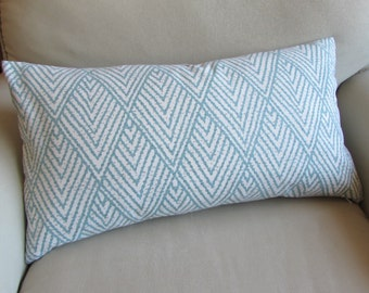Ikat AQUA horizon blue large bolster sofa pillow 13x26