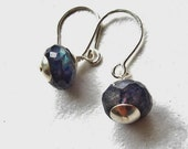 Spectrolite Faceted Rondelle and Sterling Silver Earrings