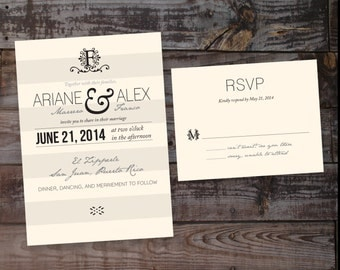 Wedding Invitation, vintage wedding invitation, printable wedding invitation, wedding invitation template, monogram wedding invitation