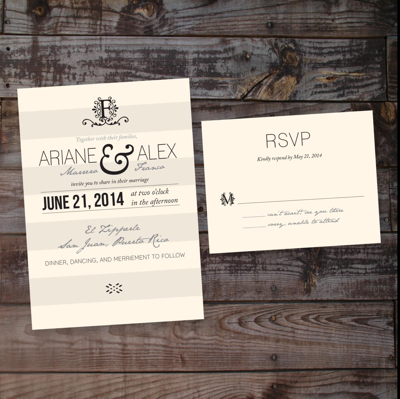 Country Vintage Shabby Chic Wedding Invitation