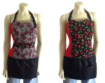 Red and Black Cherry print atomic sexy Reversible diva hostess Apron