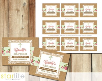 Baptism Favors Tags, cupcake toppers - burlap lace English Rose Sage - blessing, christening, dedication - first communion, printable