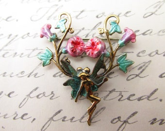 Art Nouveau French fairie brooch vintage morning glorys flower enamel brooches pins Flower fairy pin