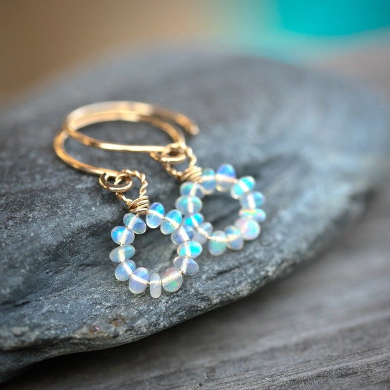Simply Opal - Gold Filled Wrapped Hoop Earrings - October Birthstone