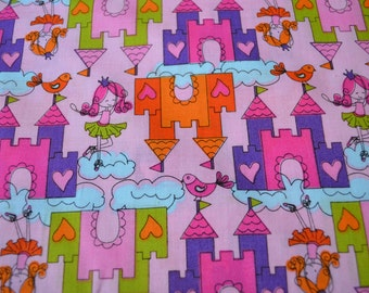 Princess Castle Fabric, 100% Cotton, Ruby's Castle In The Sky, 1 Yard, Fabric by the yard