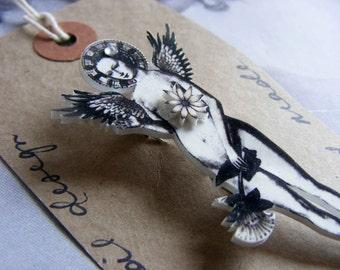 Illustrated pin Flower Angel - handmade, wearable art