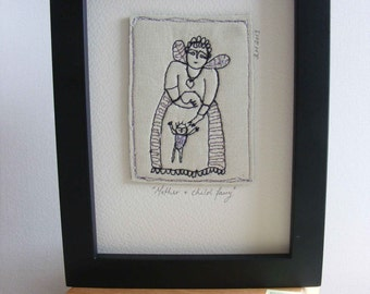 Embroidery artwork - Mother and Child - a fairy story in thread