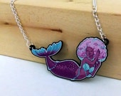 Purple Mermaid acrylic charm necklace