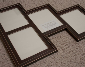 MULTI 4 Opening 8x10 distressed rustic pine collage picture frame ... java brown....HANDMADE
