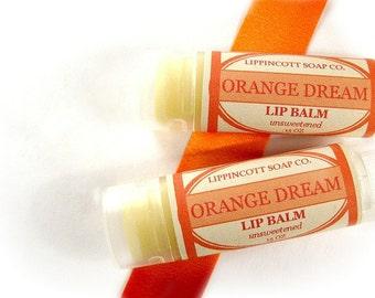 Orange Sorbet Scented Lip Balm - Unsweetened Lip Balm- Handmade Lip Balm - Beeswax Lip Balm - Orange and Vanilla Lip Balm