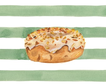 Maple Glazed Peanut Doughnut with Green Stripes Illustrated Watercolor Print