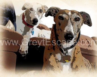 GREYHOUND PALS, note card, greyhound card, sighthound card, greeting card, thank you card, greyhound stationary, dog card, whippet card
