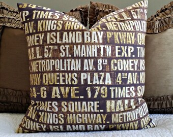 Vintage Subway Signs Pillow Cover