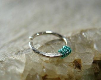 Nose Rings Hammered & Wrapped Sterling Silver with Seafoam - Nose Ring, Delicate Nose Ring, Color Nose Rings, Silver Septum Ring