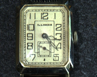 Rare 1930 Illinois 17 jewels Art Deco watch