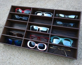 15ct Sunglasses Eyeglasses Case Storage Display Organizer Holder Organizer Shelf 3D Rack Oak Wood