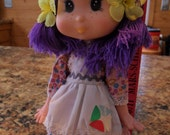 Vintage 1980's Eugene Doll - she has Purple Hair - back and removable shoes state Made in Hong Kong