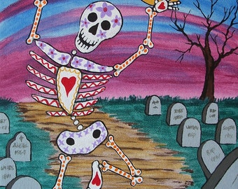 """Day of the Dead Skeleton Frolicking in the Cemetery """"Happy"""" Chose Your Size Art Print Mexican Folk Artist J Ellison"""