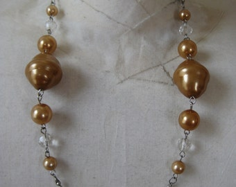 Gold Bead Necklace Silver Vintage