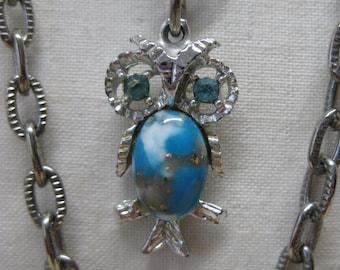 Owl Blue Silver Necklace Rhinestone Vintage Pendant