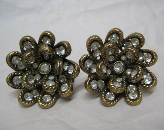 Flower Gold Rhinestone Earrings Clip Vintage