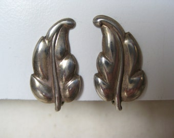 Leaf Sterling Earrings Screw Silver Vintage 925
