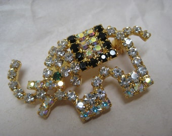 Elephant Rhinestone Brooch Aurora Black Clear Gold Pin Vintage