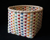 Hand Woven Basket in MultiColor and Natural. Hand made baskets in fun colors!