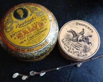 Set of two antique tins-Rawleigh's Antiseptic Salve tin and a Propert's Leather and Saddle soap tin