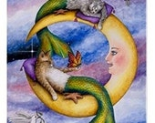Fridge Magnet Print ACEO Cat Mermaid 29 moon from original painting by Lucie Dumas