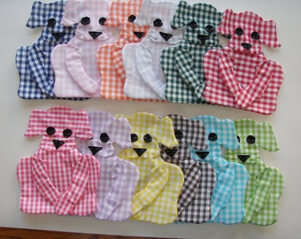 12 different colors Gingham Dog Appliques for Quilt  set of 12   Style 3 item 308