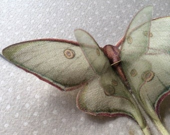 Flying - Handmade Luna Moth (Actias Luna) Butterflies Necklace in Cotton and Silk Organza - Made to Order