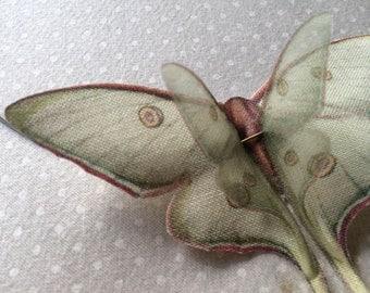 Flying - Handmade Luna Moth (Actias Luna) Butterflies Necklace - Silk Organza and Cotton - Made to Order