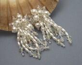 Long Pearl Crystal Earrings Vintage Bridal Jewelry X18