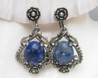 Long Vintage Earrings Thirties Floral Sodalite Antique Jewelry E5826
