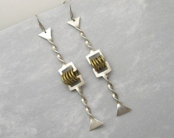 Vintage Long Sterling Earrings Funky Shoulder Dusters E4849