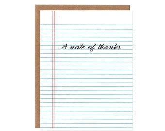 A Note of Thanks -- Lined Note Paper Screenprinted Thank You Card