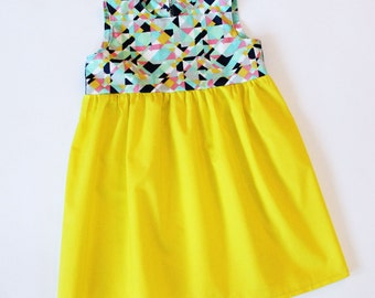 Spring Sample Sale Geometic Girls Dress  2T OOAK RTS  Toddler Tribal Modern Feathers