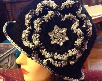 Unique Crocheted Flapper Hat ClocheTrendy Hat Black/Silver Sparkle Or Color  Of  Your Choice Chic