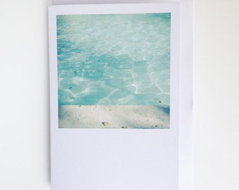 Blank Greetings Card. Swimming Pool Art - Morning Swim