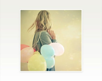 Portrait Photography, Female Figure, Balloon Art, Pastel Decor, Gold, Blue and Pink, Girl and Balloons, Whimsical, Ethereal - Run
