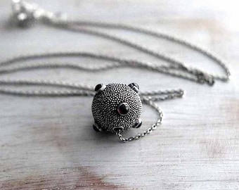 Love Sputnik  Hill Tribes Sterling Silver Bead with Garnets  Oxidized Silver  Valentine Gift  Handmade Bali Bead  Unisex  Gift Box