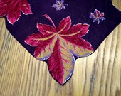 Vintage Handkerchief, Purple Leaves, 1950's Style, Purple Hanky, Leaf Hanky, Vintage Hanky, Purple Hanky, Fall Leaves, Autumn Hanky